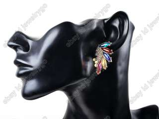 New Great Angel Wings Feathers Colorful Rhinestone Gem Stud Earrings+