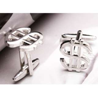 awesome cool new US dollar sign silver plated mens shirt cufflinks
