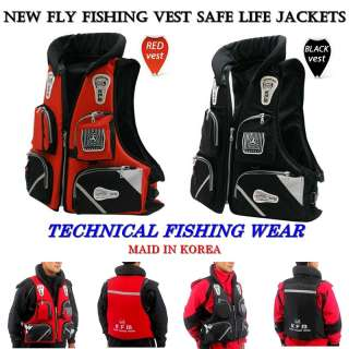 Fly Fishing Vest Safe Life Jackets Boating Water Sports Multi Pockets