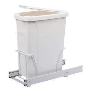 Real Solutions Single 20 Qt. White Trash Bin With Lid and Pull Out