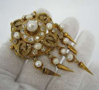 1900s French 5ct Diamond Natural Pearl 18K Gold Brooch