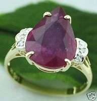 14 ct LADIES PEAR RUBY DIAMOND RING YELLOW GOLD 14k