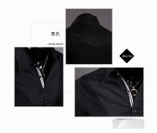 New Fashion Mens Slim fit Casual Polo shirt T Shirt Long Black/White