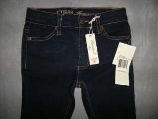 NWT GUESS Youth Girls Sz 7 Reg Daredevil Skinny Slim Fit Jeans DARK