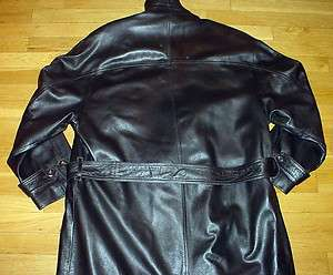 BALLY BLACK LEATHER TRENCH COAT/JACKET BELTED/LINER MADE IN ITALY MENS