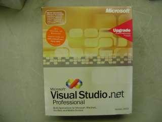 MICROSOFT MS VISUAL STUDIO .NET 2003 PROFESSIONAL PRO UPGRADE RETAIL