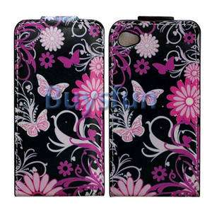 BUTTERFLY FLIP VERTICAL LEATHER CASE COVER for IPHONE 4 4G 4S & screen
