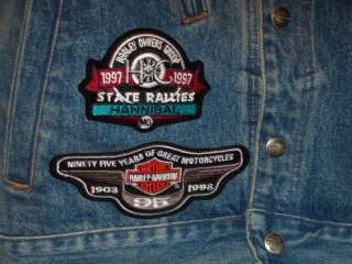 Harley Davidson Jean Jacket & Vest Ensemble W/LOTS OF HARLEY PATCHES