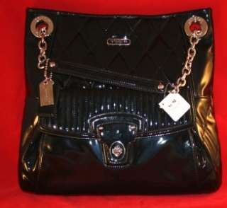 NWT NEW Coach 18673 Black Patent Leather Poppy Liquid Gloss Slim Tote
