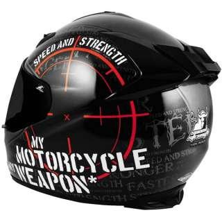Speed Strength My Motorcycle is My Weapon Helmet XLarge