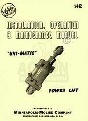 Minn Moline Power Lift Uni Mat Operators Service Manual