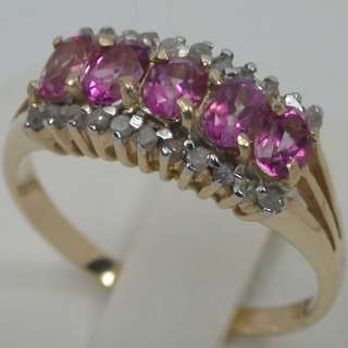 53 CTS 14K SOLID YELLOW GOLD NATURAL PINK TOURMALINE CLUSTER BAND
