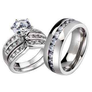 Pcs His Hers Titanium Sterling Silver Wedding Bridal Round CZ Ring