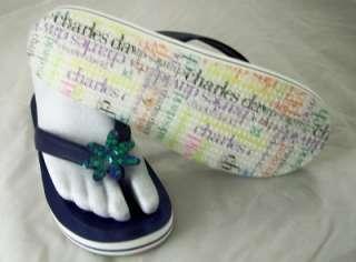 Charles David Womens Boogie Thongs Blue Sandals 9M New