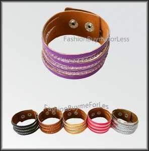 NWT Faux Leather Crystal Rhinestone Studded Bracelet