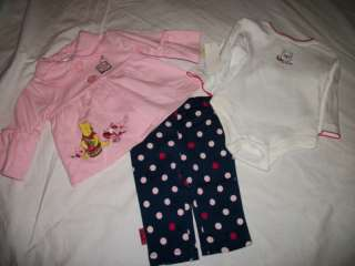 NWT NEW GIRLS DISNEY POOH BEAR OUTFIT SET 0/3M 6/9M