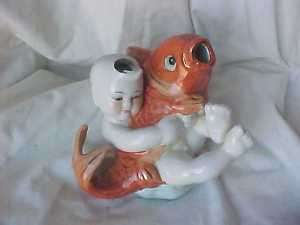 Vintage statue Boy and Fish |