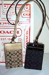 COACH Signature Tan Brown Black ID Badge Holder Lanyard NWT Leather