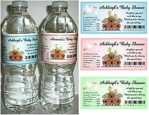 20 NOAHS ARK BABY SHOWER FAVORS WATER BOTTLE LABELS ~ Glossy