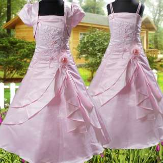 R202 Blumenmädchen Festkleid + Bolero Kommunions Kleid Kleidchen