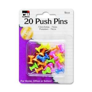 Charles Leonard Pins   Push   Assorted Neons   20/Card