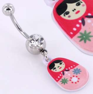 14 10g RUSSIAN NESTING DOLL Belly Button Ring