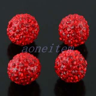 10mm Round Ball Pave Crystal Rhinestone Loose Spacer Beads Jewelry DIY