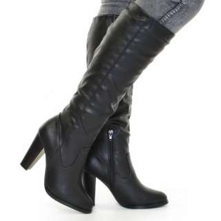 knee high leather style heeled boots size 3 8 shop home click to view