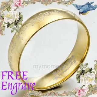Lord of Rings Elvish Anyword Groom&Bride Wedding Engagement Titanium