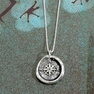Wax Insignia Silver Wax Seal Charm Pendant Compass