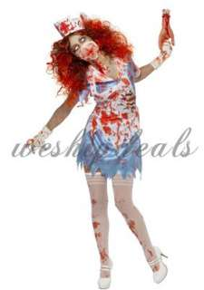 Womens Zombie Nurse Scary Evil Halloween Fancy Dress Costume Outfit