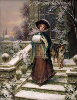SYDNEY KENDRICK A Winter Rose woman snow dog PRINT