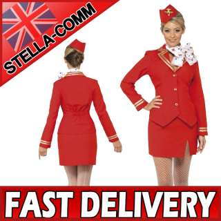 Virgin Air Hostess Trolley Dolly Fancy Dress Costume