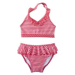Circo® Infant Toddler Girls 2 Piece Stripe/Dot Bikini Set   Pink