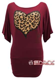 NEW LADIES WOMENS BATWING LEOPARD HEART PRINT 3/4 SLEEVE T SHIRT