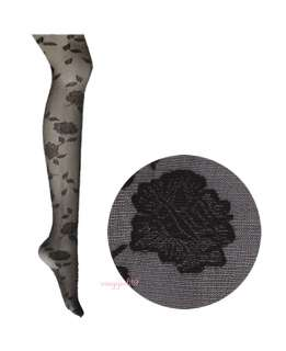 Black New Romantic Style Flower Pattern Sheer Tights