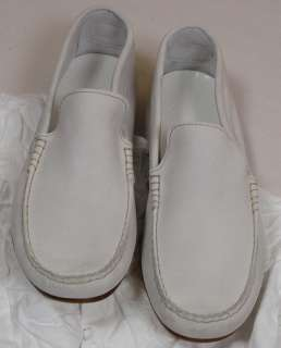 MAISON MARTIN MARGIELA SHOES $560 WHITE SUEDE TONAL STITCH LOAFERS 13