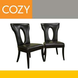 Espresso Brown Leather Dining Room Chairs Set Tall Back