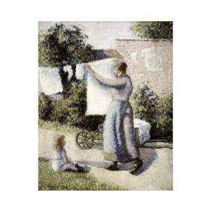 Woman Hanging Laundry by Camille Pissarro . Art PRINT