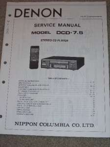 Denon Service/Operation Manual~DCD 7.5 CD Player