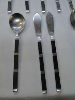 VINTAGE STANLEY ROBERTS STAINLESS STEEL FLATWARE~SAFARI PATTERN~SET 46