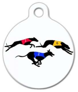 GREYHOUND RACE   Pet ID Tag   Custom Text   Dog Cat