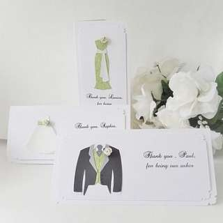 usher, bridesmaid, flower girl thank you card by kate brunt