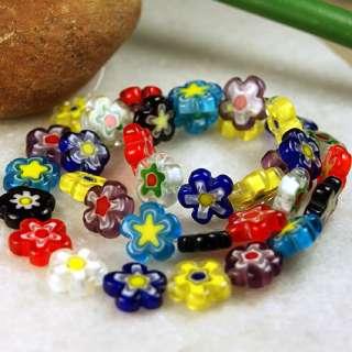 12mm Mixed Flower Millefiori Glass Loose Beads 15 Str.