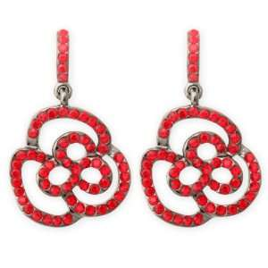 JanKuo Jewelry Rose, Flower Shape Earrings Surrounded by Crystal Ruby