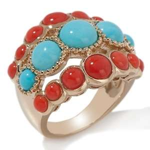 Heritage Gems Sleeping Beauty Turquoise and Momo Coral Vermeil Ring at