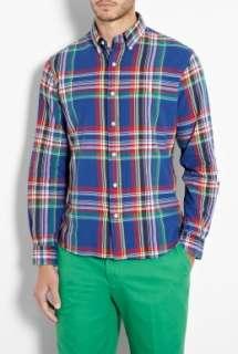 Polo Ralph Lauren  Royal Blue Madras Plaid Cotton Custom Shirt by