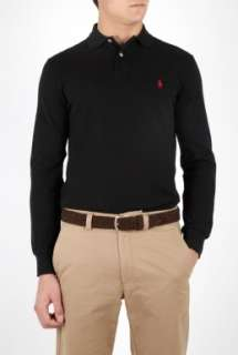 Polo Ralph Lauren  Black Long Sleeve Custom Fit Polo by Polo Ralph