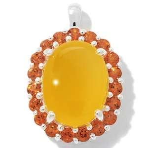 Yellow Chalcedony and Spessartite Garnet Sterling Silver Oval Pendant