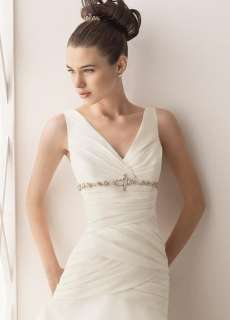 Graceful Custom made V Neck Wedding Dress Bridal Gown Court Train Free